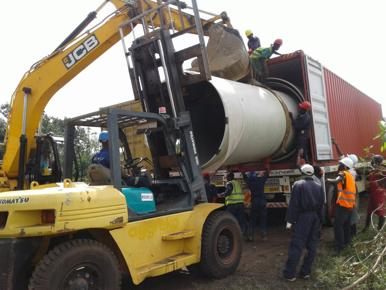 DN 2200mm and below GRP Pipes Unloading - Rwimi -Uganda -1